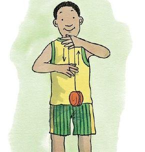 Put your free hand between the yo-yo string and your body. Grab the string with your yo-yo hand.