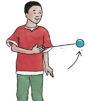 Swing the yo-yo out in front toward the opposite of your body, then let it hang mid-air.