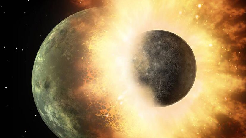 Artist's illustration of a serious dust-up on early Earth