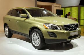 The 2009 Volvo XC60 crossover vehicle is displayed at the 2008 New York International Auto Show in New York City.