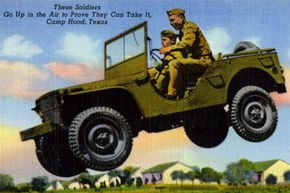A 1943 postcard showing two soldiers in a jeep that's airborne