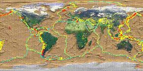 This map shows the boundaries of the Earth's tectonic plates. Most earthquakes and volcanoes occur along plate boundaries.