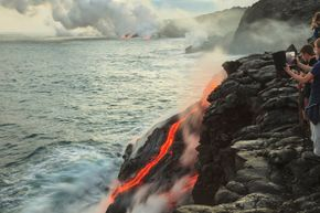 The lava flow from the Kilauea volcano makes for an excellent picture.