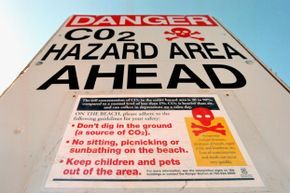 Carbon dioxide danger signs were posted at Horseshoe Lake on the southeast side of Mammoth Mountain near Mammoth Lakes, California in June 2000.