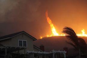 A fire tornado in Yorba Linda, California in 2008