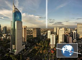 Cities near the equator, like Jakarta, Indonesia, would see a ring around Earth more as a straight line across the sky.