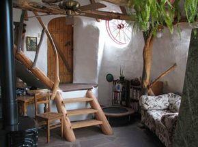 Inside a finished earthbag home