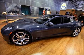 Fisker Automotive's Fisker Karma, a sports luxury plug-in hybrid car, is shown at the 2010 Los Angeles Auto Show, in Los Angeles.