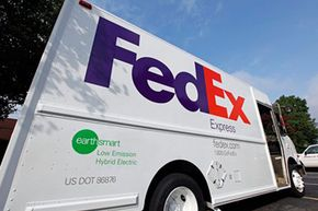 One of the new FedEx electric-hybrid trucks is shown at a distribution center in Charlotte, N.C., on July 21, 2009.