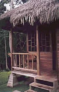 Photo courtesy Sani Lodge                                            One of eight private, thatch-roofed cabanas at the community-owned Sani Lodge located in Rio Napo, Ecuador.