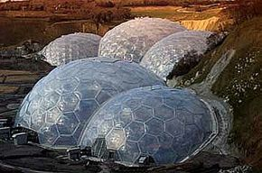 The large, connected dome structures that house the Eden Project's many plants and exhibits
