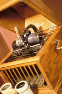 Edison's phonograph machine on display.