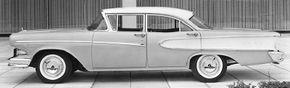 The 1958 Edsel Pacer sedan showed comparative design restraint for the era.