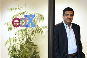 Anant Agarwal, president of edX, poses at his office. EdX offers free online classes from the world's top universities.