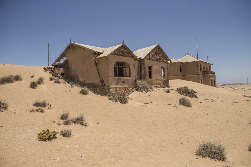 Sand sweeps inside one of the German-style houses in Kolmanskop, Namibia. Hoberman/UIG via Getty Images
