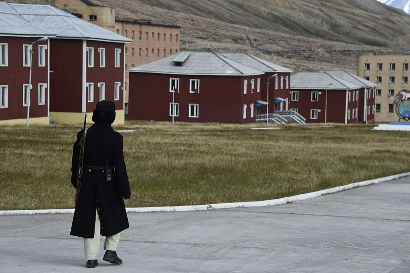 Alexander Romanovskiy stands guard at the abandoned Russian mining settlement of Pyramiden. It is now a tourist attraction. DOMINIQUE FAGET/AFP/Getty Images