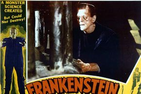 The movie poster for 'Frankenstein' shows the trademark flattened head of the monster, which was created by makeup artist Jack Pierce.