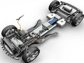 A look inside the Chevrolet Volt. The electric motor and range extender are up front and the battery runs down the center of the car. See more pictures of electric cars.