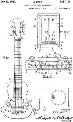Diagram from Gibson's original pickup patent, 1937