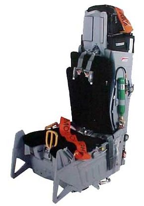 This ACES II ejection seat has a middle pull handle used to activate the ejection sequence.