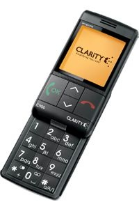 The Clarity cell phone has a slide-out number pad.