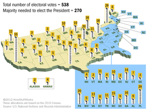 Each state's number of electors for the 2012, 2016 and 2020 elections.