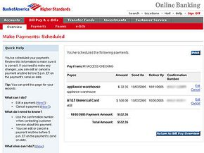 Scheduled payments confirmation screen