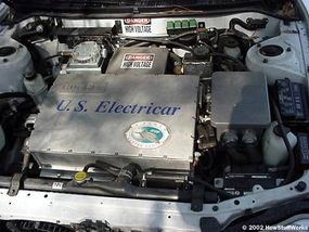 """The 50-kW controller takes in 300 volts DC and produces 240 volts AC, three-phase. The box that says """"U.S. Electricar"""" is the controller."""
