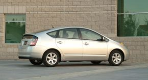 Hybrid cars like this Prius use powerful battery packs, but they're protected from the elements, so there's no risk of rain-related shocks.