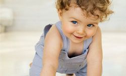 Before crawling begins, a baby will likely get himself up on his hands and knees.