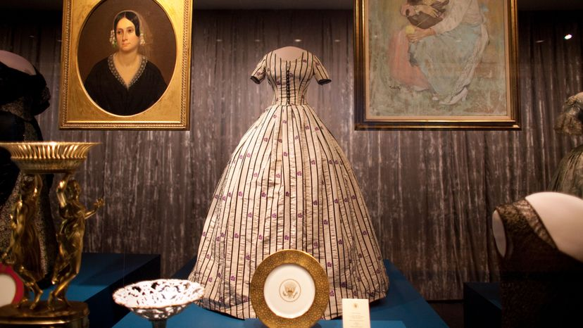 striped dress designed for Mary Todd Lincoln by Elizabeth Keckly