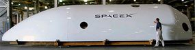 To give you an idea of how large Falcon 9 is, here's a shot of the quarter section of the Falcon 9 fairing at SpaceX's Hawthorne, Calif., headquarters.