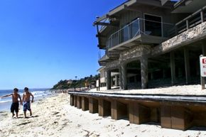 At one time the sand in front of the Marine Safety building on California's San Clemente beach was level with the building. The erosion began with the El Nino weather of 1983, and has become gradually worse since then.