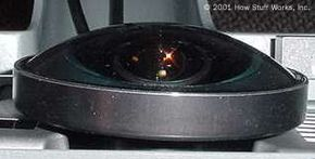 The f-theta lens has a hemispherical optical assembly that allows it to project over a 180-degree range.
