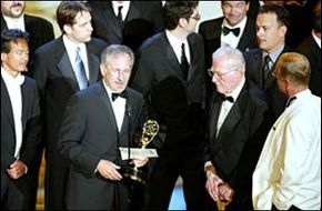 """Stephen Spielberg accepting an Emmy for """"Band of Brothers"""" in 2002"""