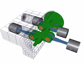Figure 4. Flat: The cylinders are arranged in two banks on opposite sides of the engine.