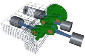 (Click on image to see animation) Flat - The cylinders are arranged in two banks on opposite sides of the engine.