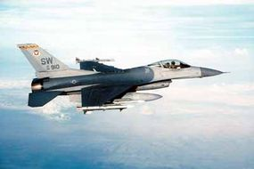 A Lockheed Martin F-16CJ of the 79th Fighter Squadron, 20th Fighter Wing, is seen on Combat Air Patrol in support of Operation Noble Eagle.