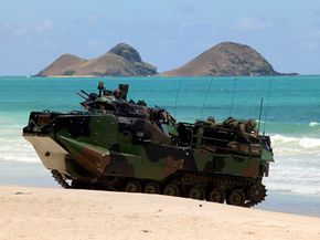 When a large amphibious assault vehicle rolls up on a beach, it's bound to displace a fair amount of sand.