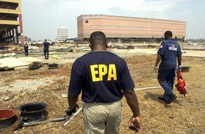 Members of the EPA and U.S. Coast Guard in Gulfport, Miss., after Hurricane Katrina