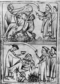 This illustration from 1250 shows Saint Valentine curing an epileptic.