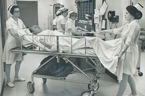 Hospitals didn't originally dedicate much space to emergency cases. You might've ended up in the hall if they didn't have room for you.