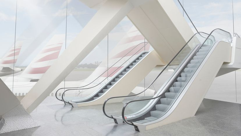 Two Escalators in an Airport