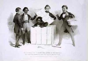 """An 1850 engraving of Henry """"Box"""" Brown emerging from his box in the office of the Pennsylvania Anti-Slavery Society. Frederick Douglass is shown on the left."""