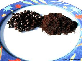 Coffee beans (left) and ground espresso coffee (right)
