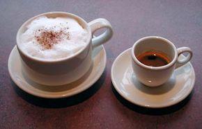 Cappuccino (left) and Espresso (right)