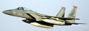 The F-15 can carry extra fuel in three external tanks. One mounts under each wing and one attaches to the fuselage.