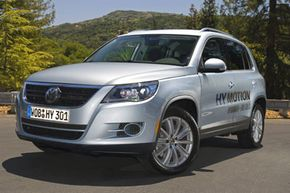 The Tiguan HyMotion is powered by a hydrogen fuel cell system. See more pictures of alternative fuel vehicles.