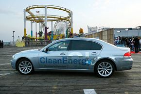 A BMW Hydrogen 7 vehicle arrives at the Santa Monica Pier in Santa Monica, Calif.