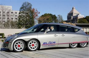 The 8-wheel, all-electric Eliica, from Japan's Keio University, shown in Tokyo in December 2005.